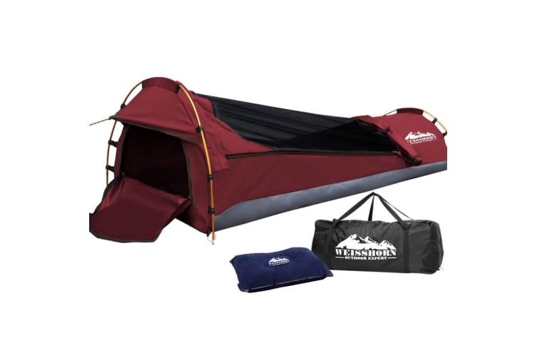 Biker Swag Camping Single Swags Tent Biking Deluxe Canvas Bag Red