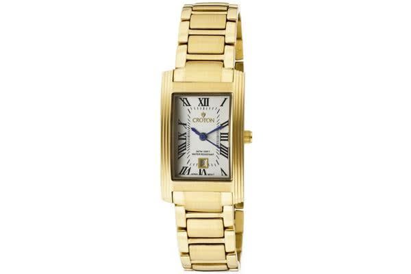 Croton Women's Beverly Silver Dial Gold Tone Ion Plated Stainless Steel (CROTON-CR207990YLDW)