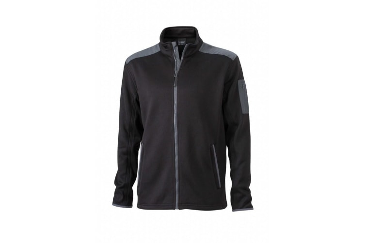 James and Nicholson Mens Knitted Fleece Jacket (Black/Carbon) (XXL)