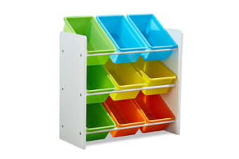 Levede 9 Bin Kids Bookcase Wooden Shelf Bookshelf Toy Organiser Storage Bin Rack