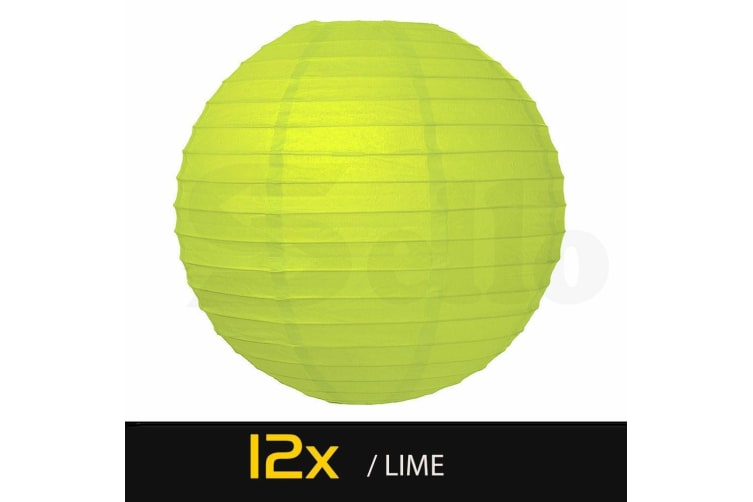 "12 Paper Lanterns for Wedding Party Festival Decoration - Mix and Match Colours  -  Lime12""Warm White - 6000K"