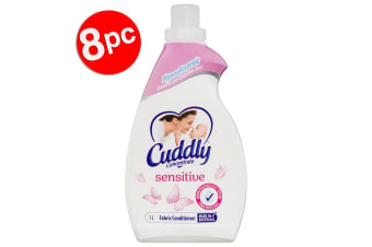 8PK Cuddly 1L Laundry Fabric Softener Hypoallergenic Sensitive Concentrated