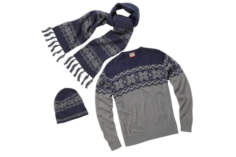 Christmas Shop Mens Traditional Knitted Winter Jumper  Hat & Scarf Set (Grey/Navy) (L)