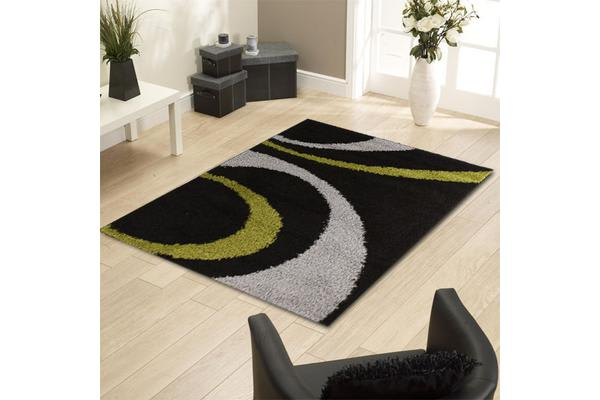 Urban Curves Rug Black Green 150x80cm
