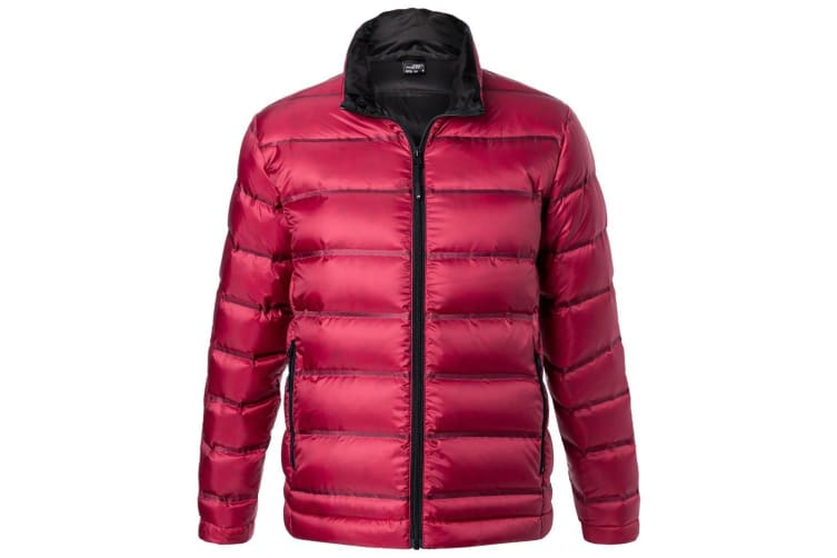 James and Nicholson Mens Quilted Down Jacket (Red/Black) (L)