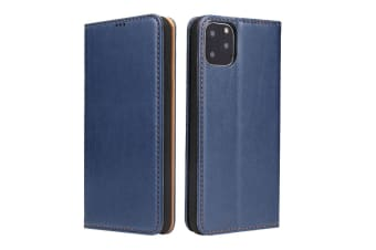 For iPhone 11 Pro Case Leather Flip Wallet Protective Cover with Stand Blue