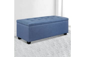 Artiss Blanket Box Storage Ottoman Linen Fabric Foot Stool Chest Toy Blue Bed
