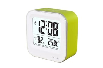 TODO Rechargeable Smart Lcd Alarm Clock Portable 600Mah Li-Ion Battery Time Temp - Green