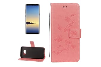 For Samsung Galaxy Note 8 Wallet Case Elegant Lotus Butterfly Durable Cover Pink