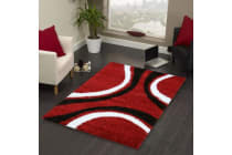 Stylish Curves Runner Rug Red Black