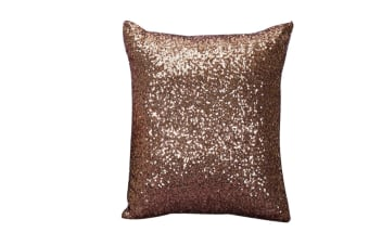 Decorative Glitzy Sequin & Comfy Satin Solid Throw Pillow Covers 18 Inch Square Pillow Case Brown