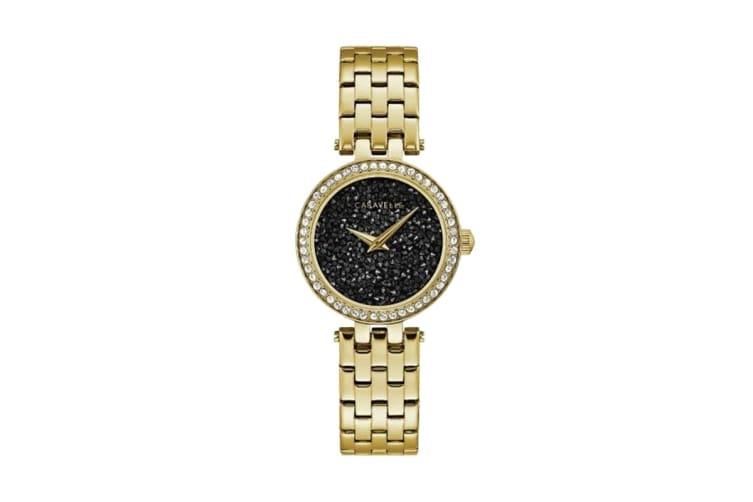 Caravelle Ladies' Analog Quartz Watch with Crystals - Gold-Tone Stainless Steel/Black (44L243)
