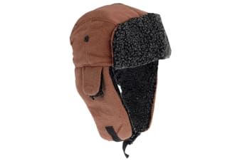 EX-STORES Unisex Mens/Womens Fleece Trapper Hat  Ski Hat (Camel)