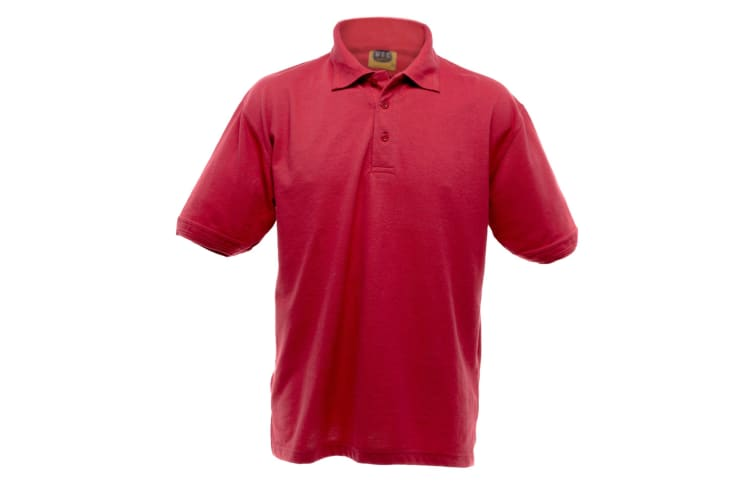 UCC 50/50 Mens Heavyweight Plain Pique Short Sleeve Polo Shirt (Red) (XS)