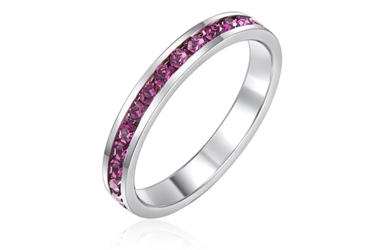 Stackable Ring -Wht Gldw Purple Ft Swarovski Crystals