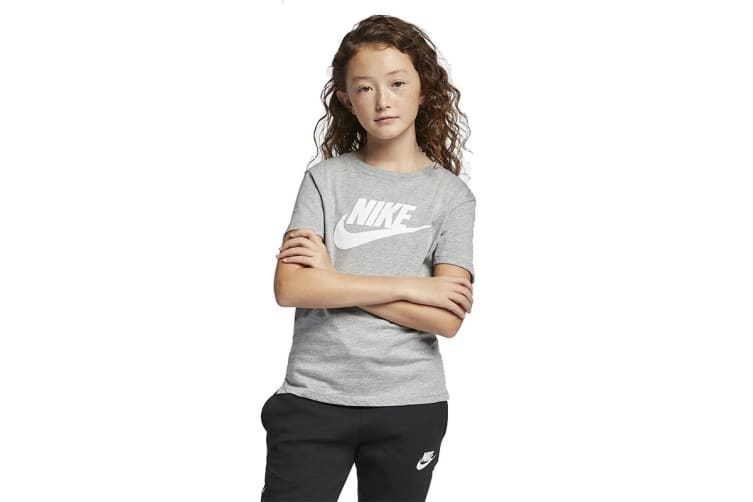 Nike Sportswear Girl's T-Shirt (Dark Heather/White, Size XL)