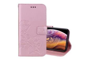 For iPhone XS Max Case Rose Gold Rose Embossed PU Leather Folio Case