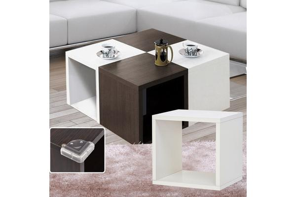 Wooden Storage Unit 1 Cube Strong Bookcase Shelving - White