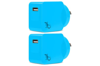 2x Gecko Smart 2.4A USB Wall Charger Power AU/NZ Plug for Smartphone/Camera Blue