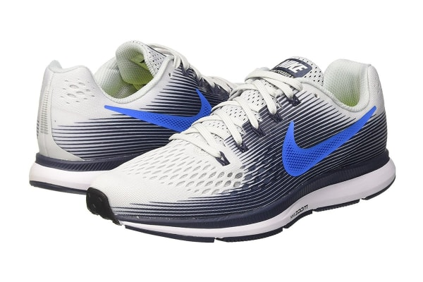 Nike Men's Air Zoom Pegasus 34 Running Shoe (Pure Platinum/Thunder Blue, Size 9)