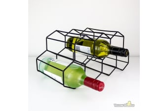 Hexagonal Cast Iron Frame Wine Rack | Holds 9 Standard Wine Bottles!