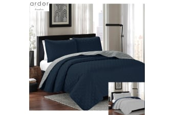 Kingston Coverlet Set Queen/King Navy Silver by Ardor