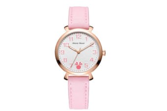 Select Mall Minnie Leather Fashion Trend Macaron Quartz Watch Waterproof Big Round Watch Suitable for Women-Pink