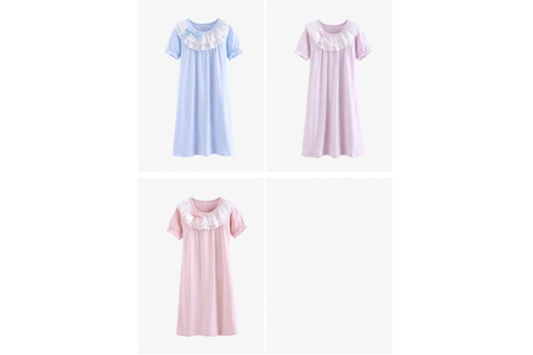 Little Girls Princess Nightgown Cotton Lace Bowknot Sleepwear Nightdress - Pink Pink 140Cm