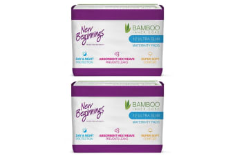 24PC New Beginnings Bamboo Ultra Slim Absorbent Maternity Day/Night Sanitary Pad