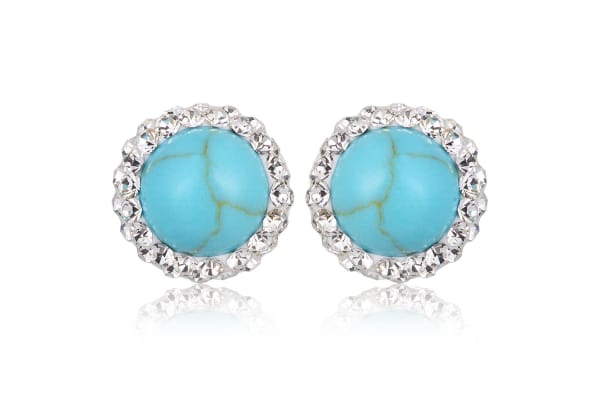 .925 Turquoise Stud With Cz Earrings-Silver/Turquoise