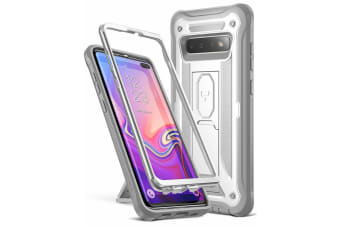 YOUMAKER HEAVY DUTY Shockproof KickStand Case Cover For Samsung Galaxy S10 Plus-White