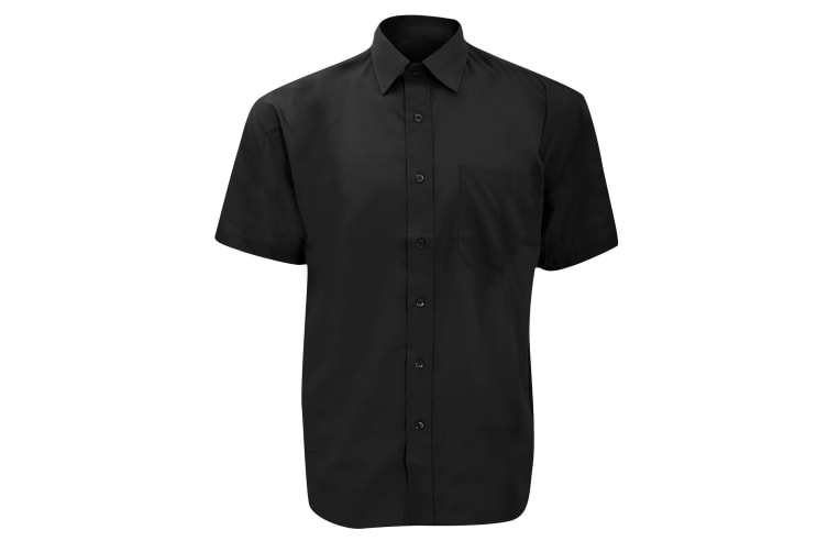 Russell Collection Mens Short Sleeve Poly-Cotton Easy Care Poplin Shirt (Black) (15.5)