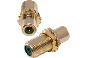 Gold 'F' Socket To RCA Socket Green Joiner - Kordz