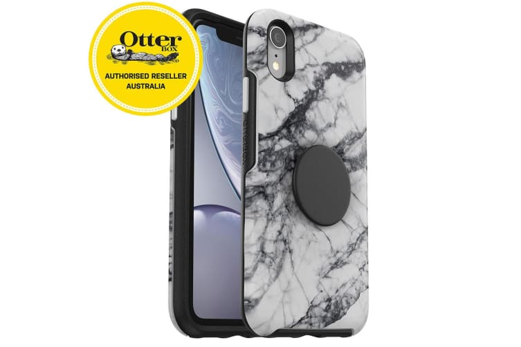OtterBox Pop Holder Symmetry Case/Cover Drop Proof for iPhone XR Marble White