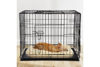 "30"" Dog Cage Pet Crate Puppy Cat Foldable Metal Kennel Portable 3 Doors"