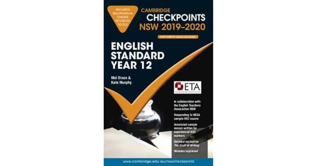 Cambridge Checkpoints - Cambridge Checkpoints NSW 2019-20 Standard English  Year 12 and QuizMeMore by Melpomene Dixon | 9781108460576 | 2018 | Kids &
