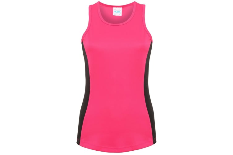 AWDis Just Cool Womens/Ladies Girlie Contrast Panel Sports Vest Top (Hot Pink/Jet Black) (L)