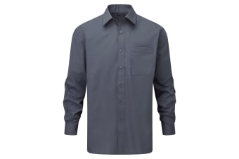 Russell Collection Mens Long Sleeve Shirt (Convoy Grey)