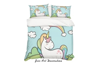 3D Cartoon Unicorn Green Quilt Cover Set Bedding Set Pillowcases 81-Double