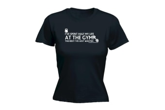Sex Weights And Protein Shakes Gym Bodybuilding Tee - Ive Spent Half My Life At The - (XX-Large Black Womens T Shirt)