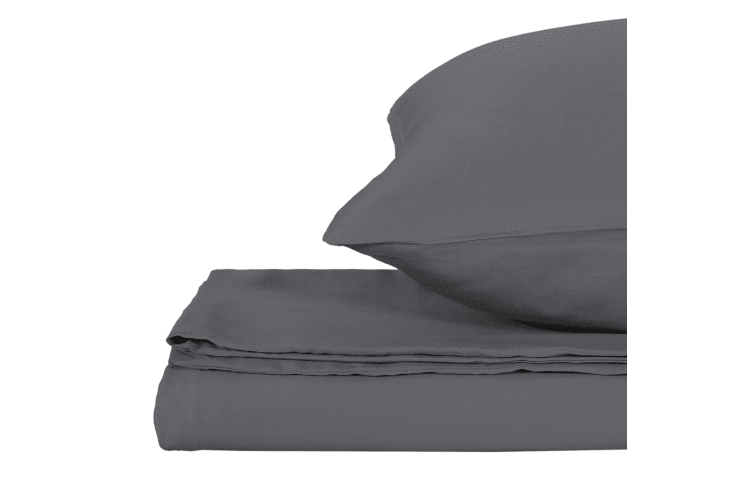 Natural Home Bamboo Quilt Cover Set Super King Bed CHARCOAL