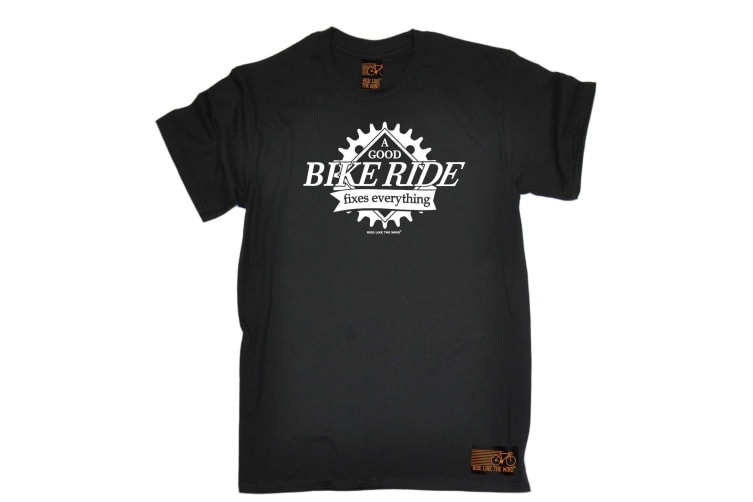 Ride Like The Wind Cycling Tee - A Good Bike Fixes Everything - (4X-Large Black Mens T Shirt)