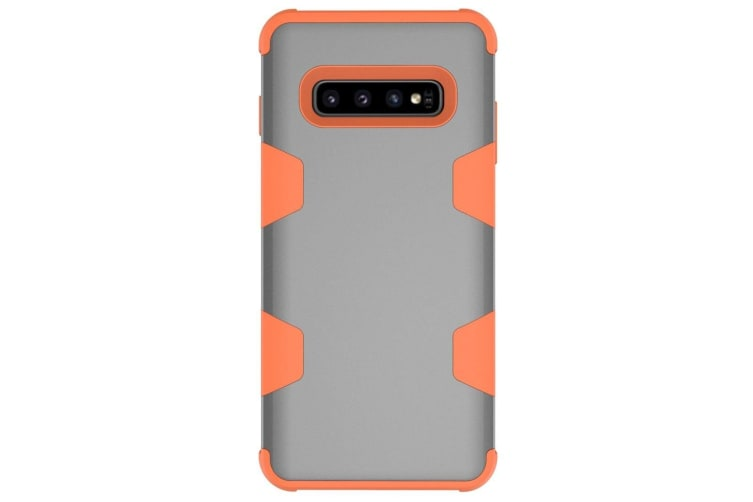 For Samsung Galaxy S10 Case  Grey & Orange Armour TPU & PC Shockproof Back Cover