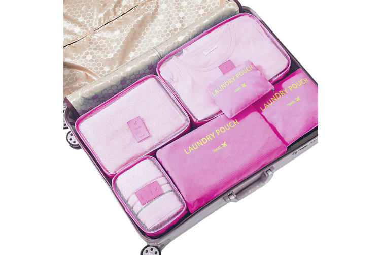 Jet Set 6 Piece Travel Luggage Organizer Storage Cube Pouch Suitcase Packing Bag - Pink