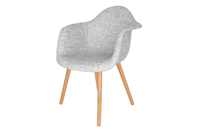 Replica Eames DAW Hal Inspired Chair | Textured Light Grey Fabric Seat | Natural Beech Legs
