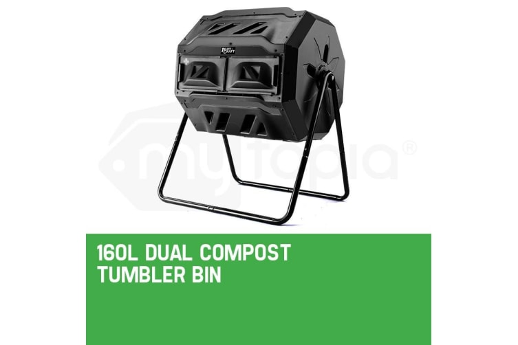 PlantCraft 160L Compost Tumbler Dual Twin Bin Food Waste Aerated Composter