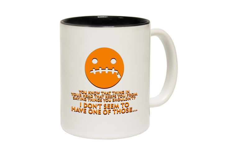 123T Funny Mugs - You Know That Thing On Your Head - Black Coffee Cup