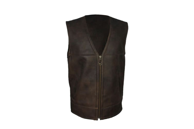Eastern Counties Leather Mens Giles Sheepskin Gilet (Chocolate Forest) (44 inch)