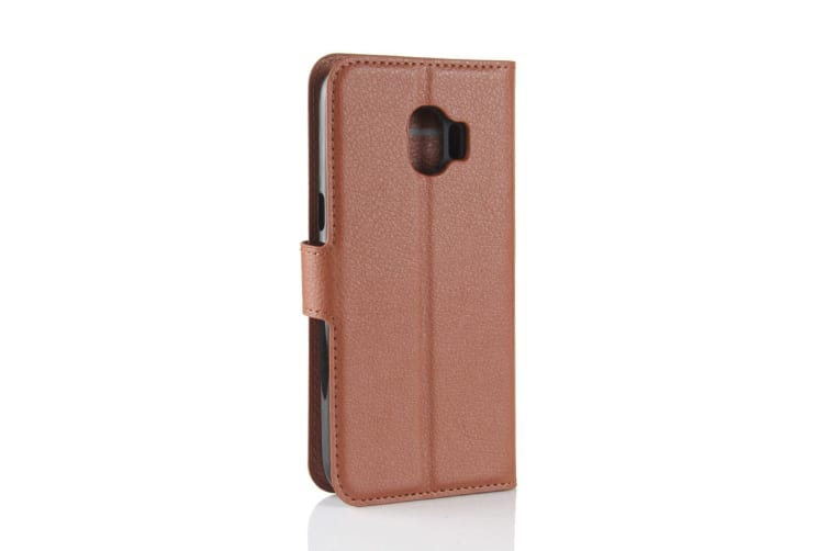 Brown Lychee Texture Leather For Samsung Galaxy J2 Pro (2018) Case