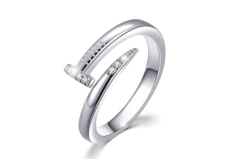 .925 Curved Nail Ring-Silver/Clear   Size US 8